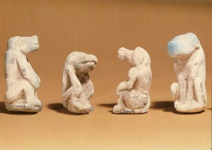Faience model baboons from Hierakonpolis, Petrie Museum, UCL, Bloomsbury, WC1E