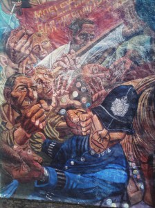 Detail from Battle of Cable Street by Ray Walker, Cable Street, Shadwell, Tower Hamlets, E1